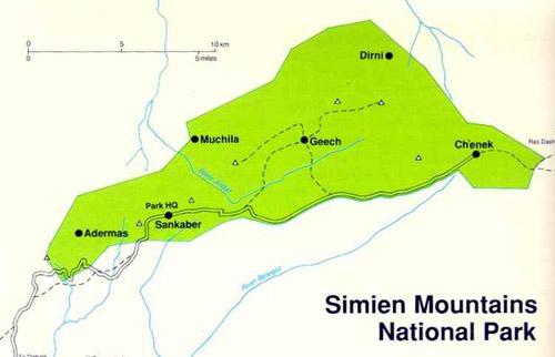 Parque Nacional de Simien etiopia mapa