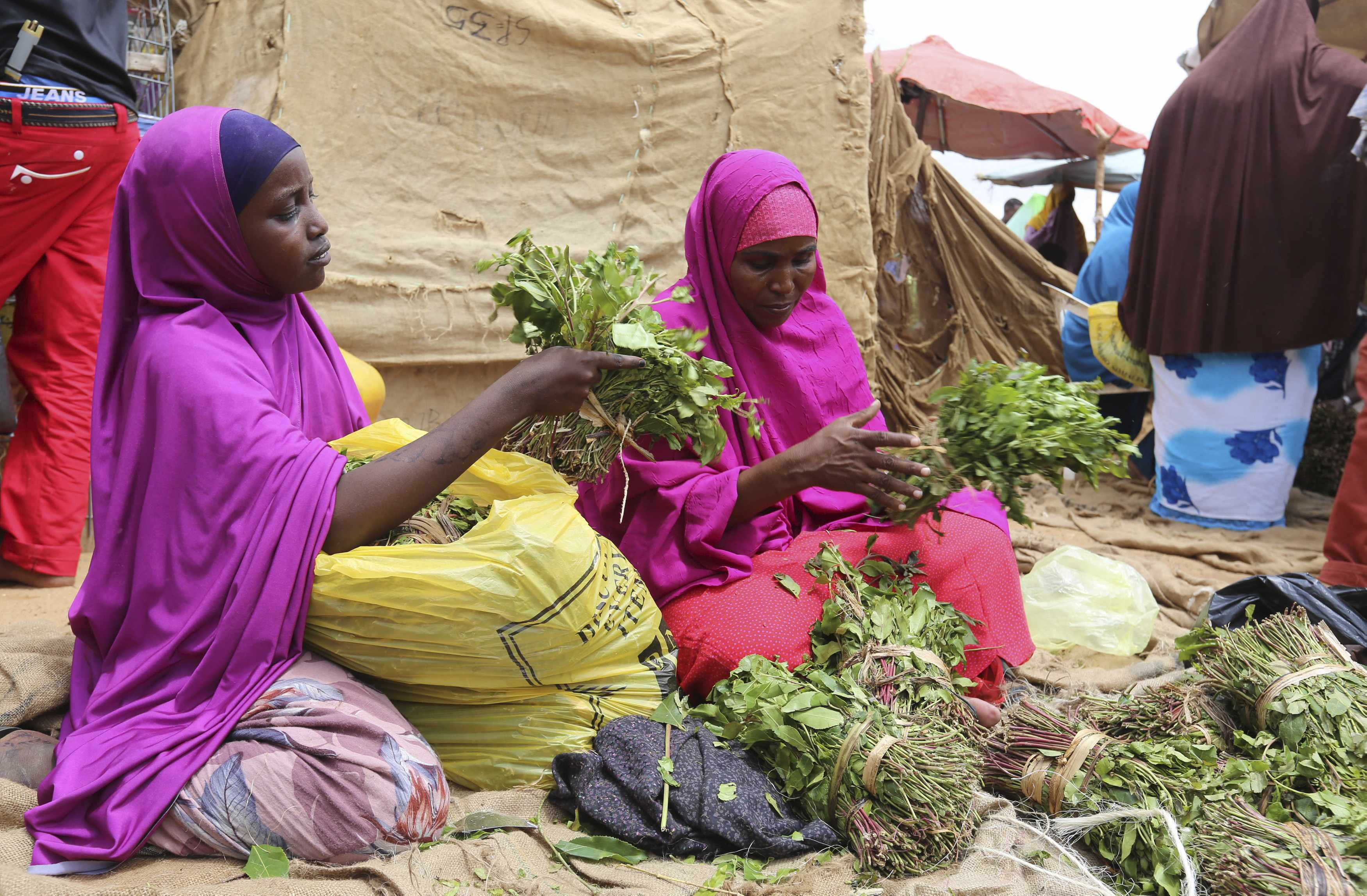 A woman and her daughter arrange branches of khat into small bundles in Mogadishu